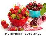 Ripe Strawberries And Cherry...