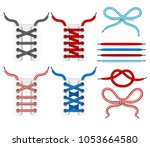 shoelace tying icons. color... | Shutterstock . vector #1053664580