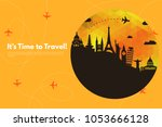 it s time to travel.trip to... | Shutterstock .eps vector #1053666128