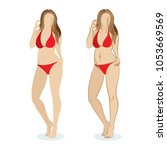 sexy young woman in red... | Shutterstock .eps vector #1053669569