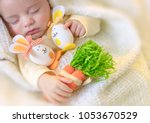 happy easter  portrait of a... | Shutterstock . vector #1053670529