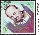 Small photo of MOSCOW, RUSSIA - MARCH 16, 2018: A stamp printed in Republic of Yemen shows Sir Winston Spencer Churchill (1874-1965), statesman, Prime Minister, in memory of man of world peace, 1965