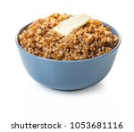 cooked buckwheat with butter on ... | Shutterstock . vector #1053681116