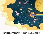 astronaut cartoon on the moon...   Shutterstock .eps vector #1053682580