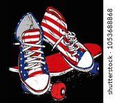 stylish sneakers and jeans.... | Shutterstock .eps vector #1053688868