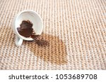 spilled coffee on carpet | Shutterstock . vector #1053689708