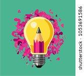 creative idea. lamp bulb and... | Shutterstock .eps vector #1053691586