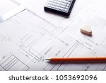 plan   engineering drawing on... | Shutterstock . vector #1053692096