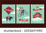 vintage greeting cards set.... | Shutterstock .eps vector #1053697490