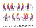 business meeting. posture while ... | Shutterstock .eps vector #1053699623
