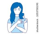 duo color nice mother hugging... | Shutterstock .eps vector #1053700190