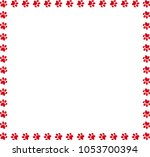 square frame made of red animal ... | Shutterstock . vector #1053700394
