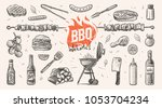 barbeque related things hand... | Shutterstock .eps vector #1053704234