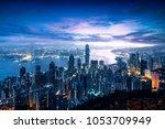 hong kong sunrise  view from...   Shutterstock . vector #1053709949