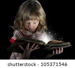 teen girl reading the book on a ... | Shutterstock . vector #105371546