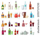 alcoholic and soft drinks.... | Shutterstock . vector #1053719150