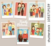 happy family pictures with... | Shutterstock . vector #1053719159
