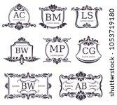 luxury logo monograms with... | Shutterstock . vector #1053719180