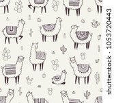 seamless pattern with llama ... | Shutterstock .eps vector #1053720443