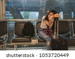 wait for a friend to travel to... | Shutterstock . vector #1053720449