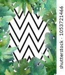 watercolor frame on white... | Shutterstock . vector #1053721466
