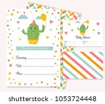 baby shower poster with cute... | Shutterstock .eps vector #1053724448