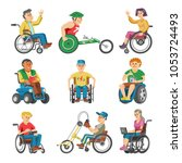 disabled people in wheelchair... | Shutterstock .eps vector #1053724493