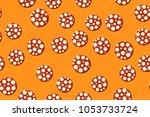 seamless pattern. embossed... | Shutterstock .eps vector #1053733724