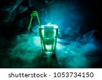 alcohol cocktail in glass with... | Shutterstock . vector #1053734150