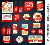 holiday sale ribbon banners and ... | Shutterstock . vector #1053736553