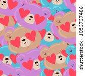 Stock vector pattern seamless cute bear 1053737486