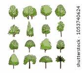 side view  set of green... | Shutterstock .eps vector #1053740624