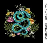 embroidery oriental floral...   Shutterstock .eps vector #1053742793