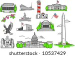 american monuments set vector... | Shutterstock .eps vector #10537429