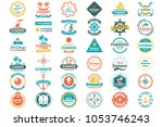 summer retro vector logo for... | Shutterstock .eps vector #1053746243