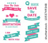 wedding retro vintage vector... | Shutterstock .eps vector #1053749348