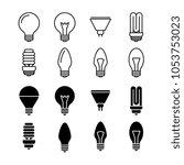light bulbs line and silhouette ... | Shutterstock . vector #1053753023