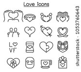 love icon set in thin line style   Shutterstock .eps vector #1053760643