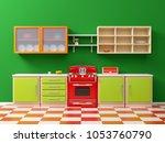 flat retro kitchen interior in... | Shutterstock . vector #1053760790