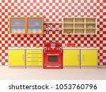 flat retro kitchen interior in... | Shutterstock . vector #1053760796