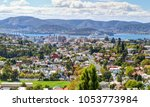 Small photo of Aerial view of Hobart City. Large cruise ship is docked over horizon. Tasmanian Island. Australia.