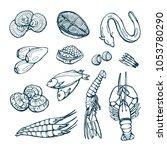 collection of sea delicacies.... | Shutterstock .eps vector #1053780290