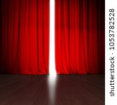 theater red curtain slightly... | Shutterstock . vector #1053782528