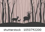 deer walk in the forest among... | Shutterstock .eps vector #1053792200