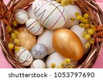 close up festive easter eggs in ... | Shutterstock . vector #1053797690