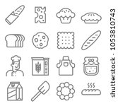 bakery baker line icon set.... | Shutterstock .eps vector #1053810743