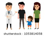 family to see doctor in... | Shutterstock .eps vector #1053814058