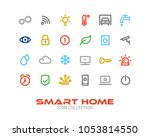 set of 24 smart home colored... | Shutterstock .eps vector #1053814550