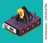 gpu mining bitcoin concept.... | Shutterstock .eps vector #1053818786