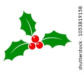 christmas holly berry flat icon ... | Shutterstock .eps vector #1053819158